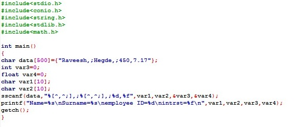 C program to separate comma and semi comma using sscanf About Codes - comma and and