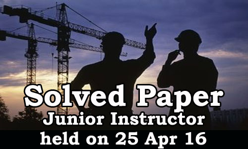 Kerala PSC - Junior Instructor, Online Examination Solved Paper held on 25 Apr 2016
