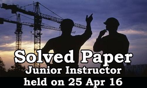 Kerala PSC - Junior Instructor, Online Examination Solved Paper held on 25 Apr 2016