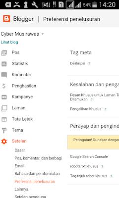 Cara mengatur setelan blogger menu Penelusuran