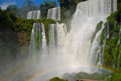 Bossetti Falls with Rainbow Iguazu Falls Argentina