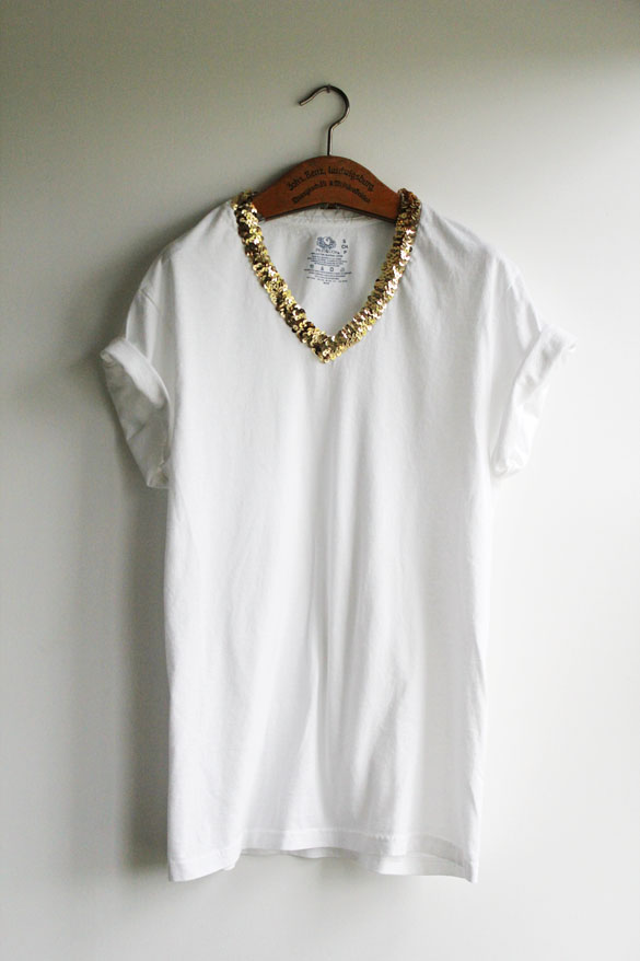 The Forge: diy: t-shirt make-over part I - sequin collar t ...