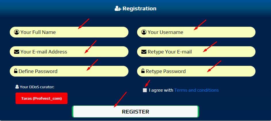 Регистрация в NobleDDoS 2