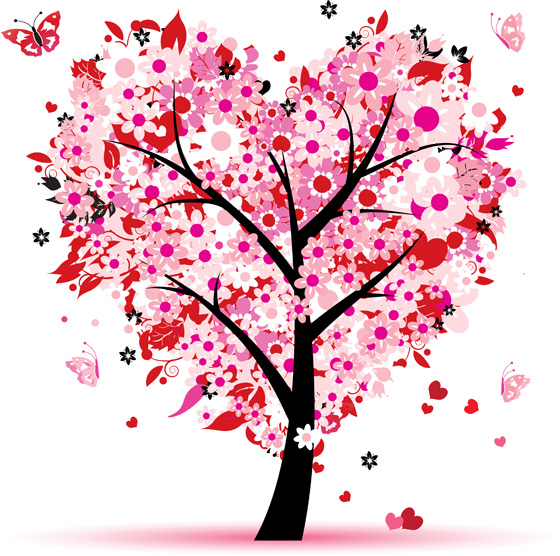 Love tree, leaf from hearts