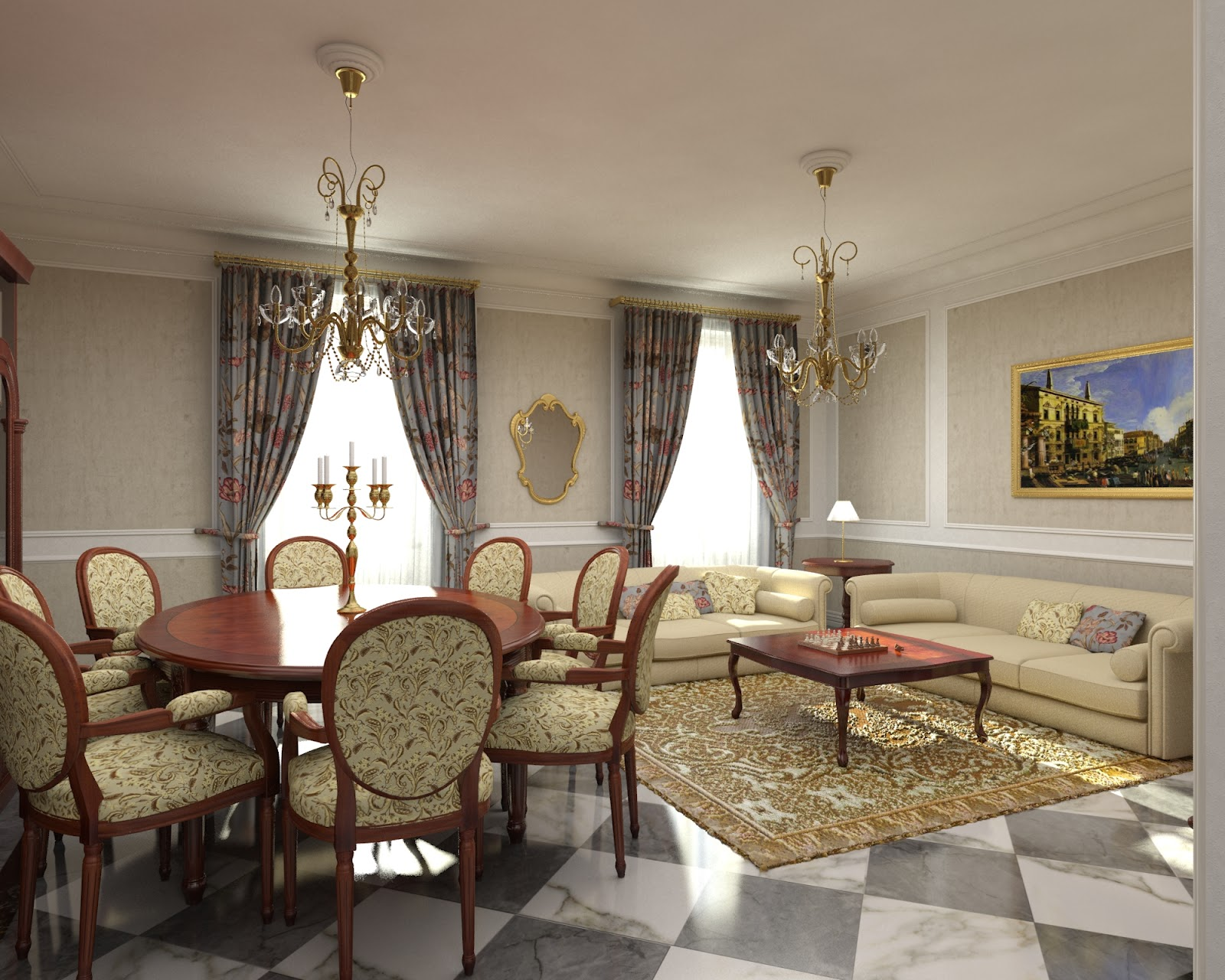 Salas con suelos de m rmol ideas para decorar dise ar y for Decoracion de salas clasicas elegantes