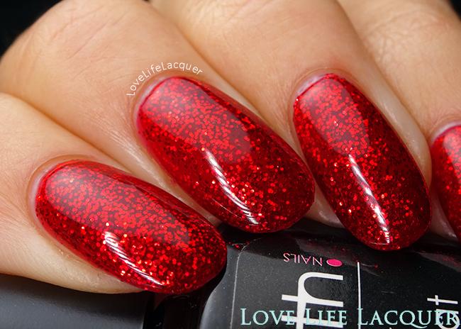 SmoothNails X-mas red glitter gel polish swatch