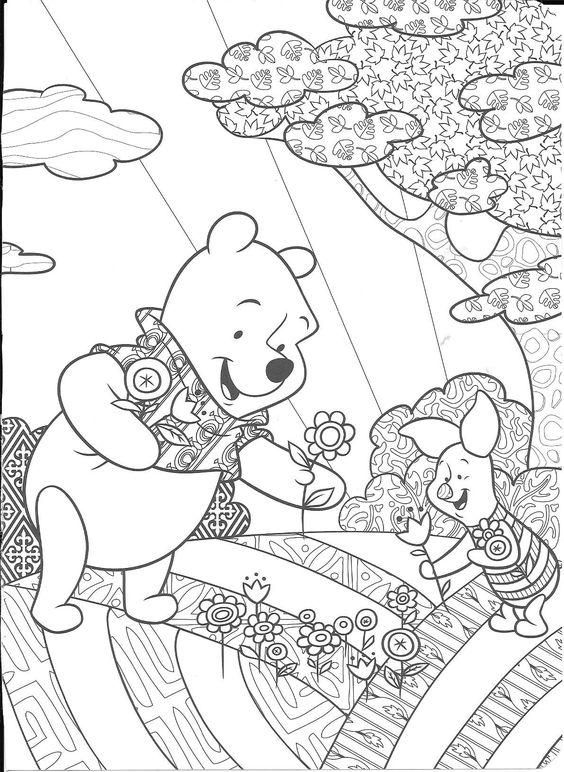 Tranh cho bé tô màu gấu Pooh 18