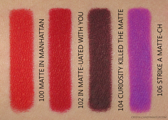 L'Oreal Paris Colour Riche Matte Lip Liners Swatches 100 102 104 106