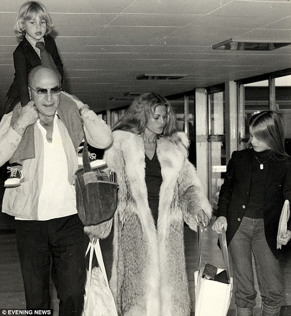 Telly Savalas and family at Heathrow Airport