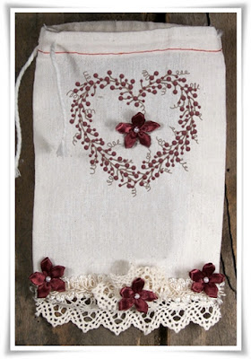 Shabby Primitive Muslin Bag with Lace - Tattered Sisters