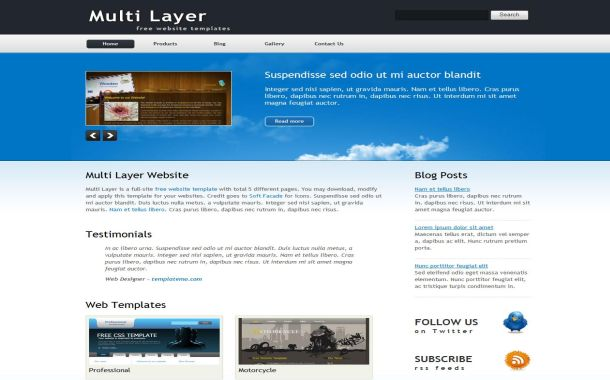 Free Jquery Business Blue HTML Website Template