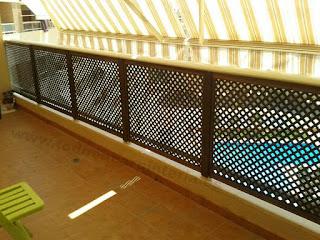 Celosía de madera para terraza.