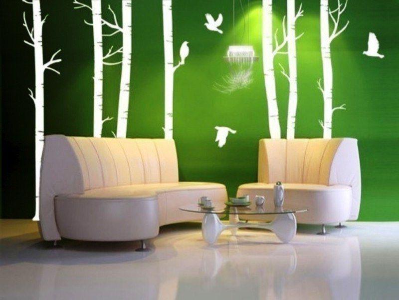Wallpaper Dinding Ruang Tamu Hijau