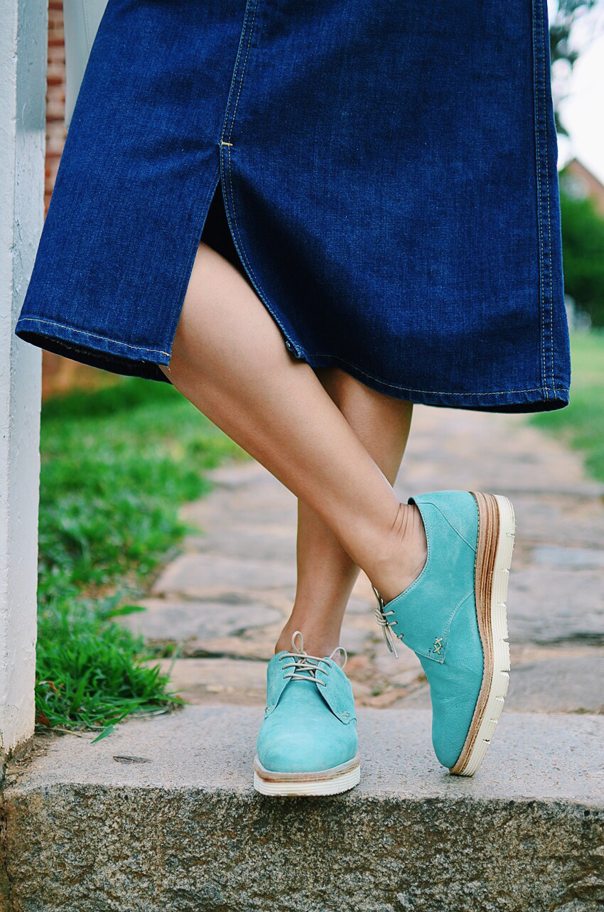 Suede brogues street style