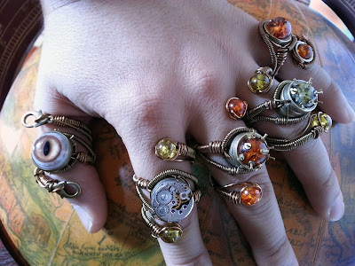 5 Steampunk adjustable rings