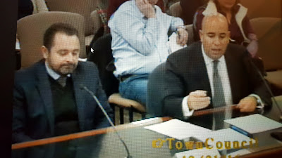 Attorney Richard Cornetta and a representative from the developer making their case to the Town Council