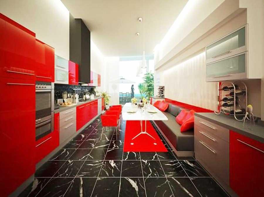 Luxus Rot Küchen Design Mit Schwarzem Marmorböden Awesome Design