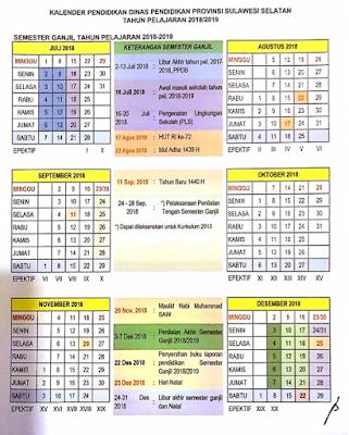 Kalender Pendidikan Tahun Ajaran 2018/2019 Provinsi Sulawesi Selatan
