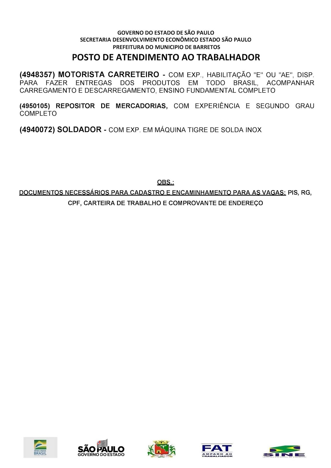 VAGAS DE EMPREGO DO PAT BARRETOS-SP PARA 13/05/2019 SEGUNDA-FEIRA