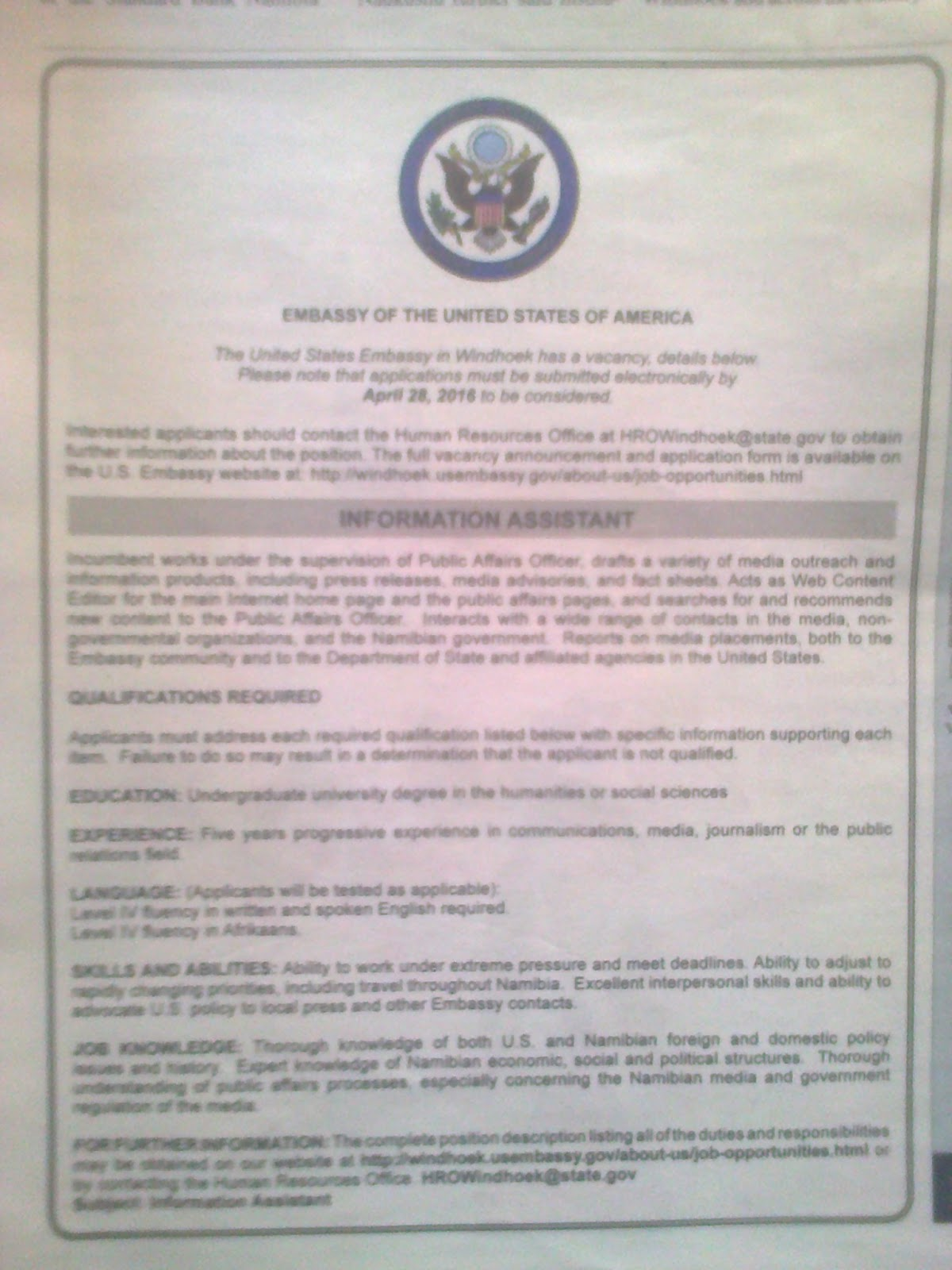 Jobs in Namibia: Vacancies - Information Assistant - The US Embassy