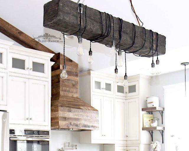 Wood Beam Ceiling Light, Wood Vent Hood, Bliss-Ranch.com