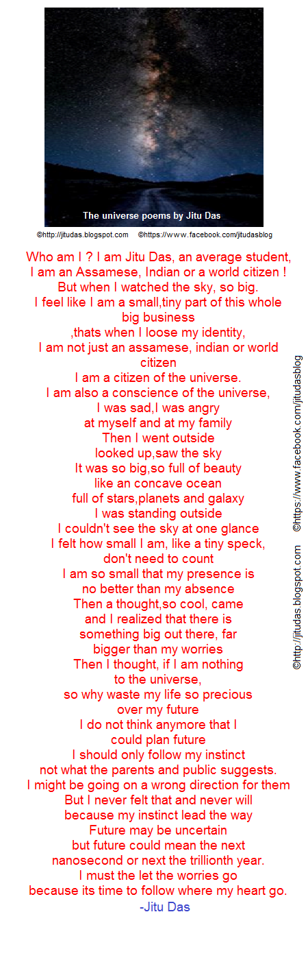 "English love and life poems "" The universe poem "" by Jitu Das english poems"