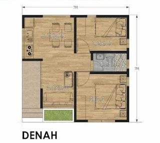 Denah Rumah Minimalis  ukuran 7x7 meter
