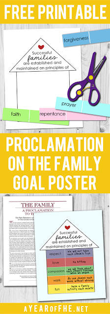 A Year of FHE // Proclamation on the Family FREE PRINATBLE! You make goals as a family, based on the building blocks of a happy family as outlined in the Proclamation.  Then fill in your goals, add to your poster, and hang in your home! This is such a great resource for LDS families! #lds #Proclamation #Family #familiesareforever