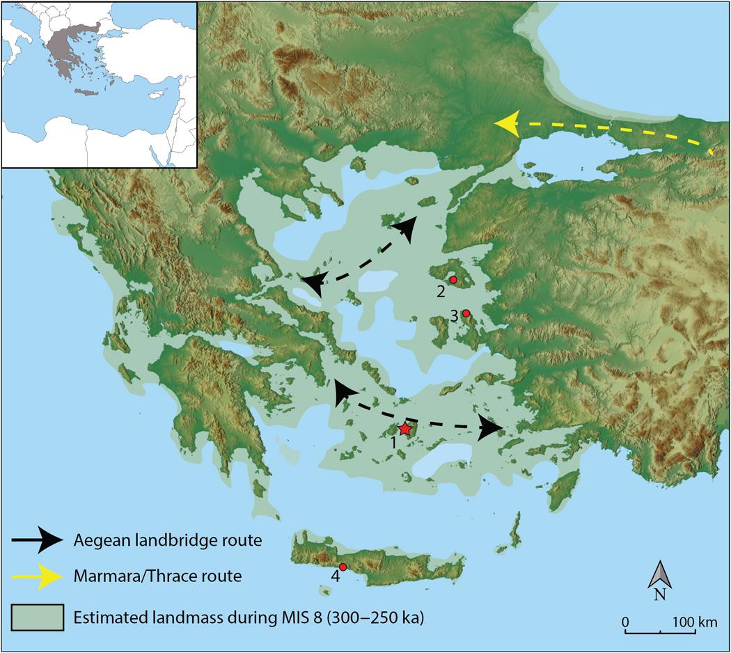 Localización del yacimiento arqueológico de Stelida e hipotéticas rutas de dispersión de homininos durante el mínimo glaciar MIS8. Foto: Justin Holcomb.