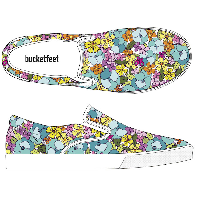 Pansy Parade Design Mock Up On Bucketfeet Shoes, Surface Pattern Design By Thistle Thicket Studio. www.thistlethicketstudio.com