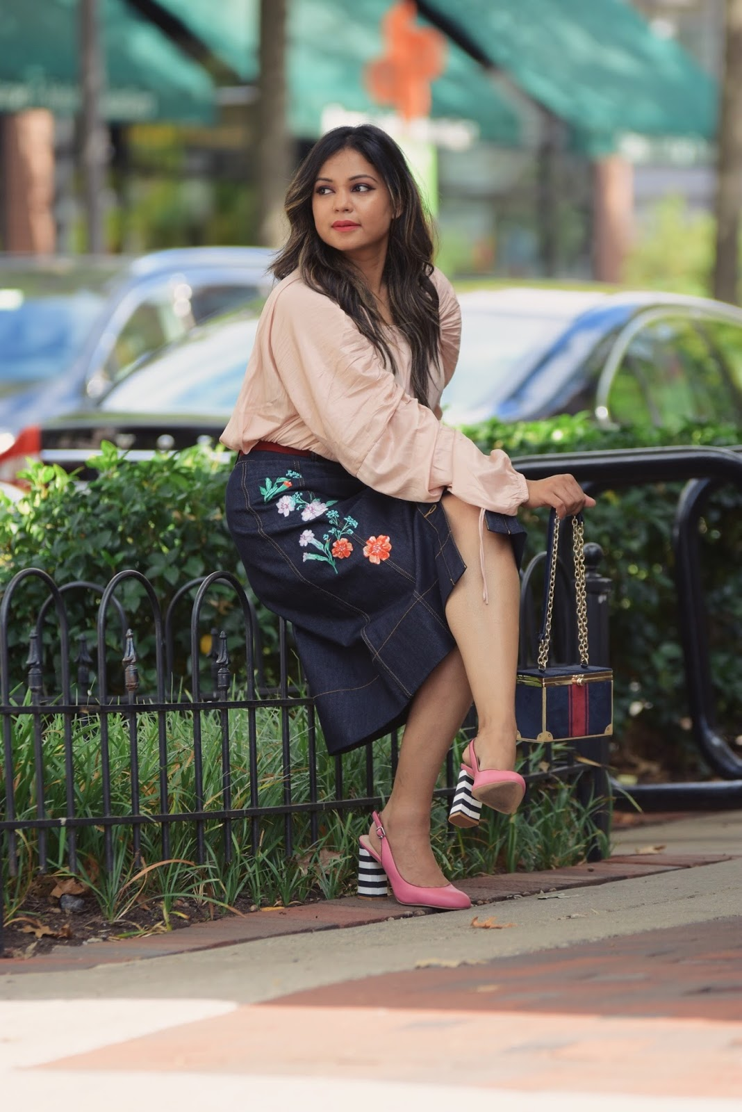 how to wear daytime sparkles, loft ruched sleeves blush blouse, embroidered denim kate spade skirt, pink stripe heels, shoes of prey, fall fashion , style blog, street style, myriad musings
