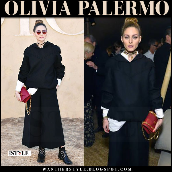 Olivia Palermo in black sweater, black culottes, black boots miu miu with red sunglasses Dior so real what she wore may 11 2017