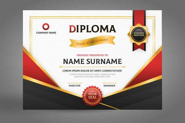 Black and red diploma certificate with ribbon Free Vector