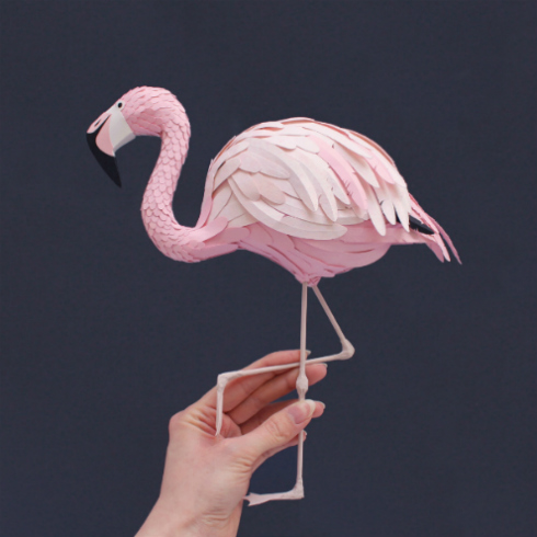 Paper Sculpture Flamingo