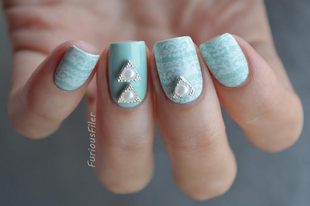 #31dc2015 lace mint delicate nails 3d charm