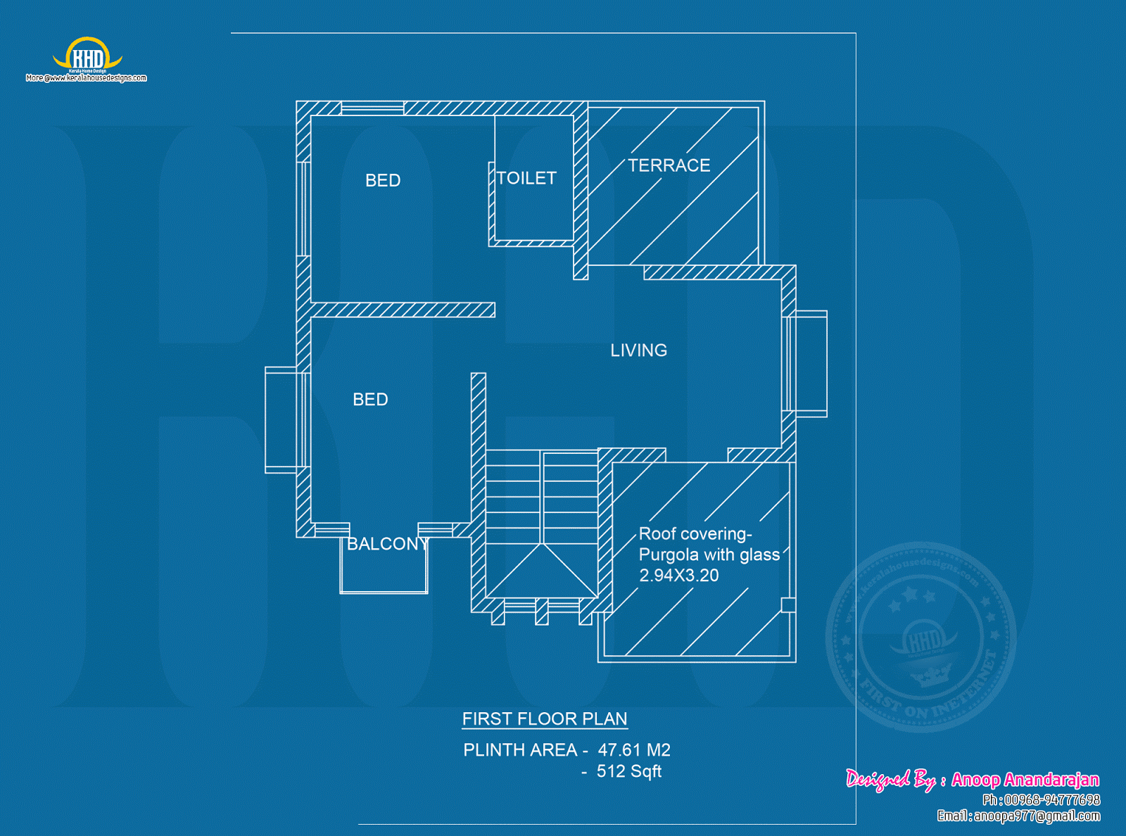 Day night view and blueprint of modern house kerala for Blueprint design