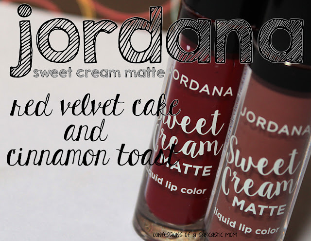 Jordana Sweet Cream Matte Liquid Lip Color in Red Velvet Cake and Cinnamon Toast