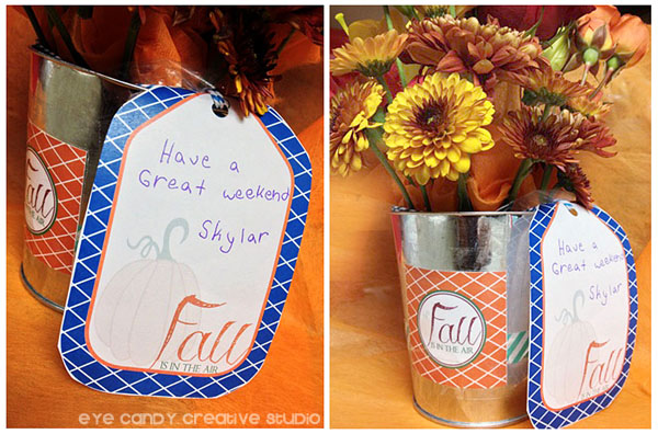 tie on gift tag, silver bucket, fall bouquet for teacher, fall is in the air