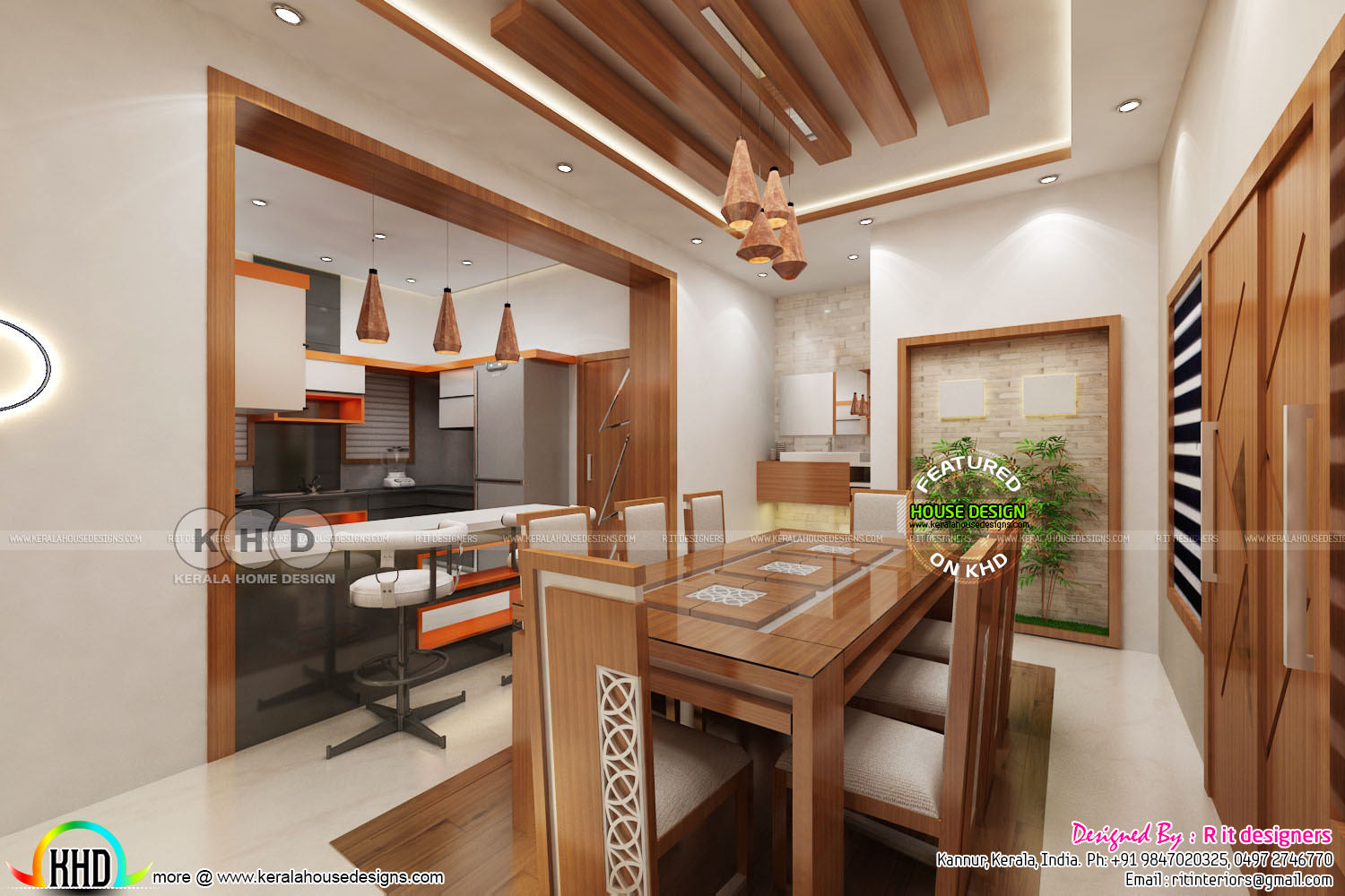 Dining with open kitchen and living room - Kerala home ...