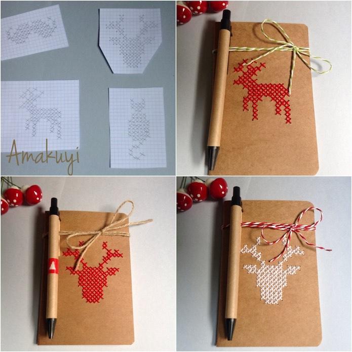 proceso para bordar una tapa de libreta con punto de cruz con detalles navideños. Renos, cirvos, copos de nieve...