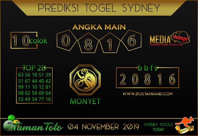 Prediksi Togel SYDNEY TAMAN TOTO 04 NOVEMBER 2019