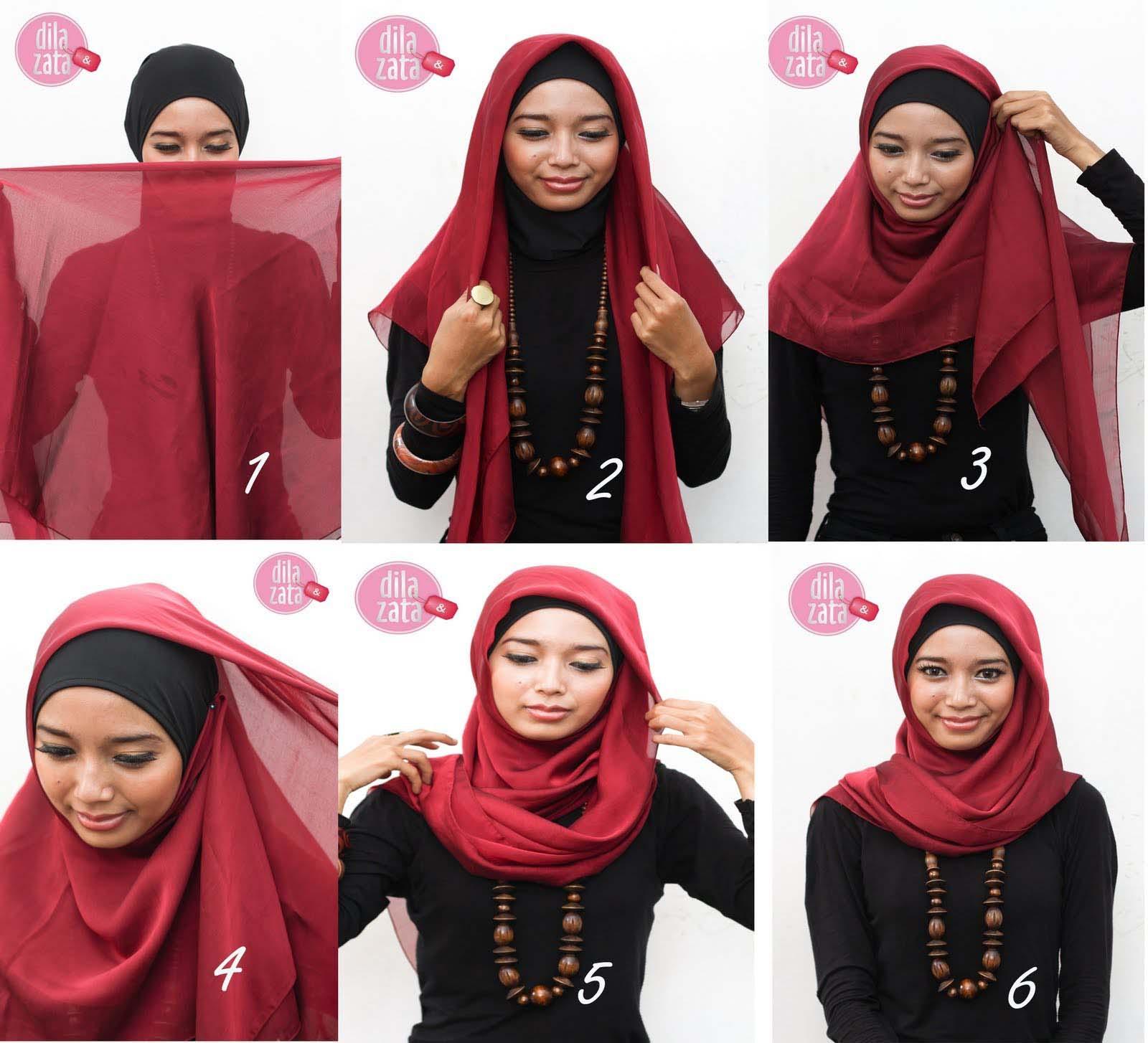 Gaya Hijab Tampil Beda Untuk Wajah Bulat