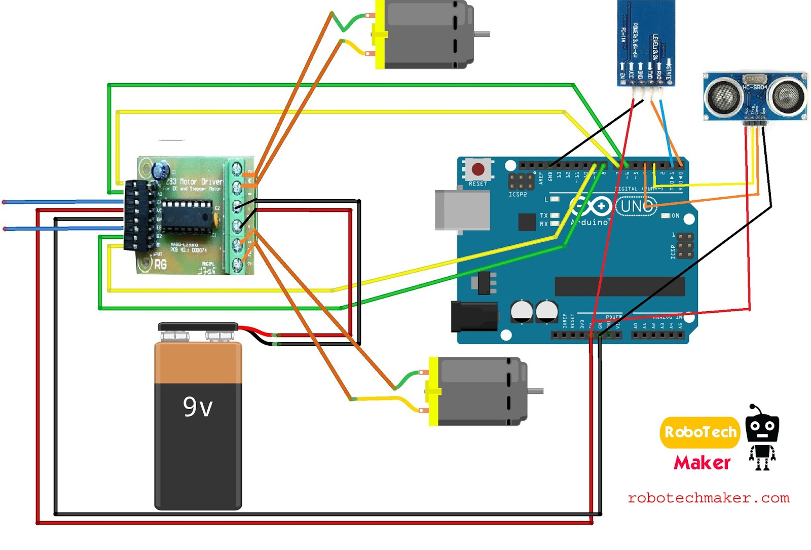 Robotech Maker Arduino Robot Using L293d Or L2998n Motor Controller Pin Diagram Download And Zoom In For Clear View
