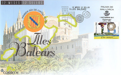 Sobre Primer Día del sello dedicado a las Islas Baleares