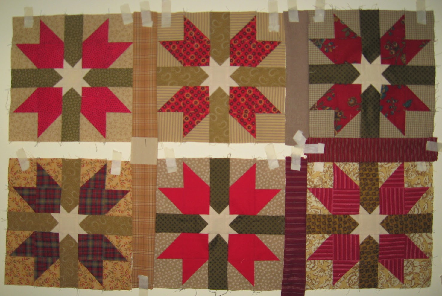 Red Wings with Stars blocks for scrap quilt