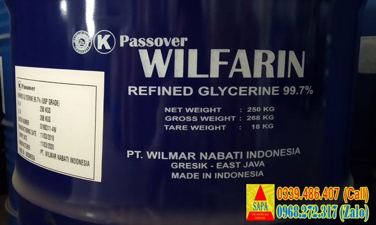 Glycerine Wilfarin USP 99.7% hàng nhập mới