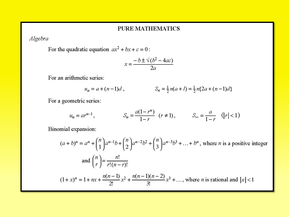 MF9 or Formula Booklet for Mathematics AS and A Level