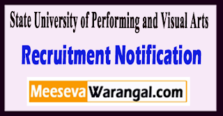 SUPVA State University of Performing and Visual Arts Recruitment Notification 2017 Last Date 03-07-2017