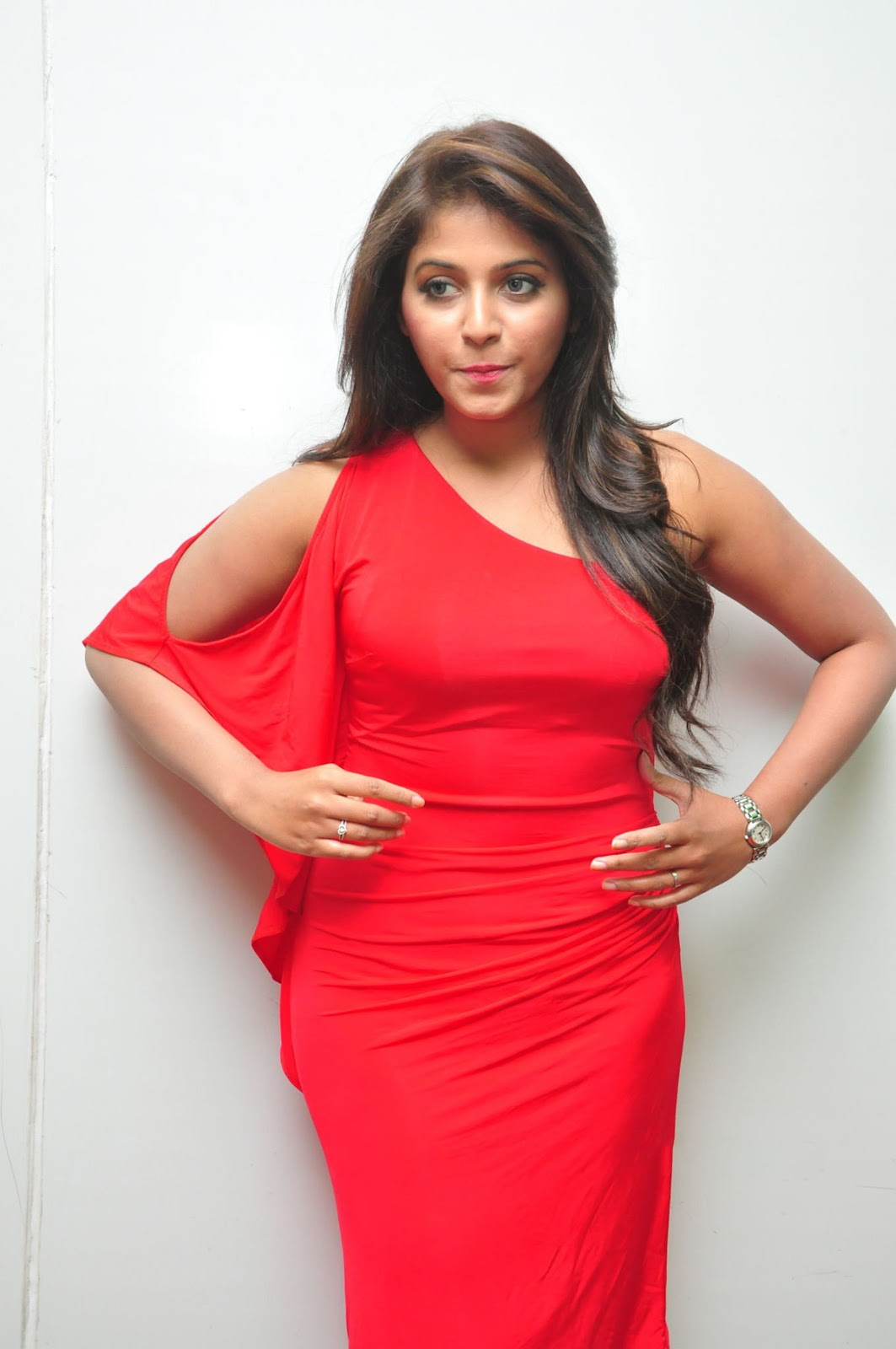 Beautiful Razole Telugu Girl Anjali Stills In Red Dress