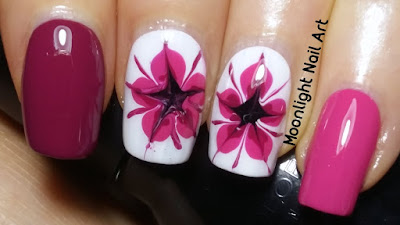 Drag Dry Marble Flower Nail Art Design. Toothpick or needle nail art.
